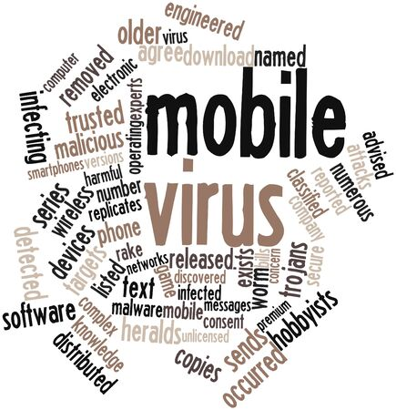 Abstract word cloud for Mobile virus with related tags and terms Stock Photo - 16413933