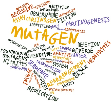 tumors: Abstract word cloud for Mutagen with related tags and terms Stock Photo