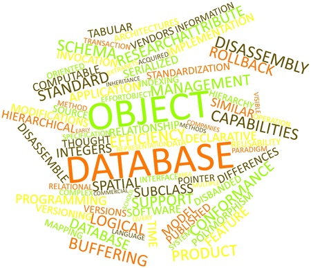 time specification: Abstract word cloud for Object database with related tags and terms