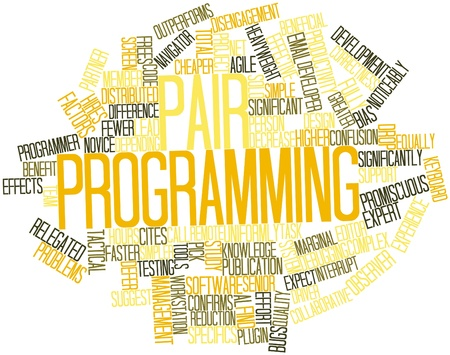 confirms: Abstract word cloud for Pair programming with related tags and terms Stock Photo