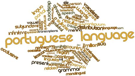 continuum: Abstract word cloud for Portuguese language with related tags and terms Stock Photo