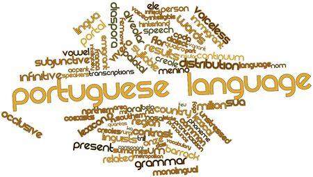 inteligible: Nube palabra abstracta para la lengua portuguesa con las etiquetas y términos relacionados Foto de archivo