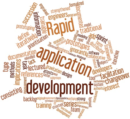 prototyping: Abstract word cloud for Rapid application development with related tags and terms Stock Photo