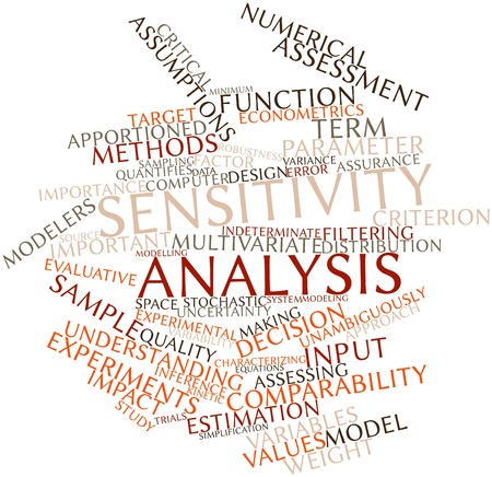 characterizing: Abstract word cloud for Sensitivity analysis with related tags and terms Stock Photo