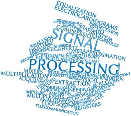 Abstract word cloud for Signal processing with related tags and terms