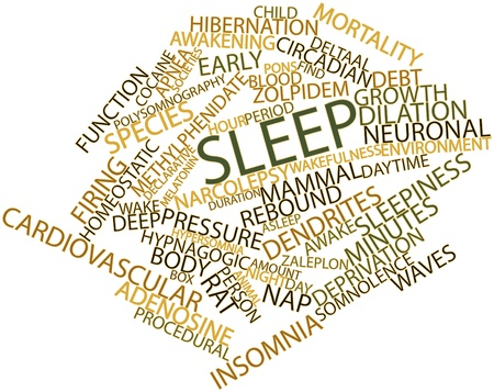 Abstract word cloud for Sleep with related tags and terms