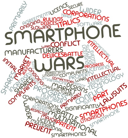 wider: Abstract word cloud for Smartphone wars with related tags and terms Stock Photo