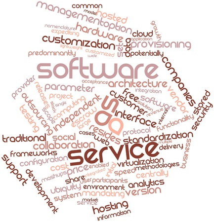 Abstract word cloud for Software as a service with related tags and terms photo
