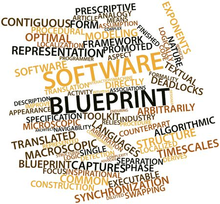 macroscopic: Abstract word cloud for Software blueprint with related tags and terms Stock Photo