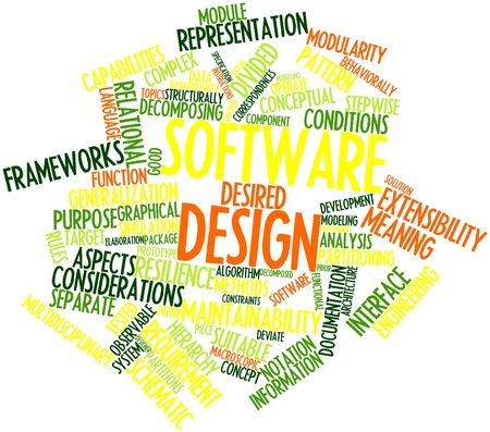 Abstract word cloud for Software design with related tags and terms Stock Photo - 16414234