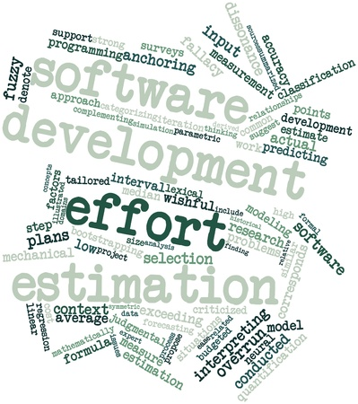 Abstract word cloud for Software development effort estimation with related tags and terms Stock Photo - 16414351