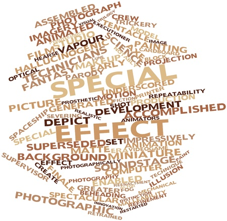 beheading: Abstract word cloud for Special effect with related tags and terms Stock Photo