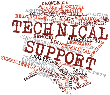 knowledgeable: Abstract word cloud for Technical support with related tags and terms Stock Photo