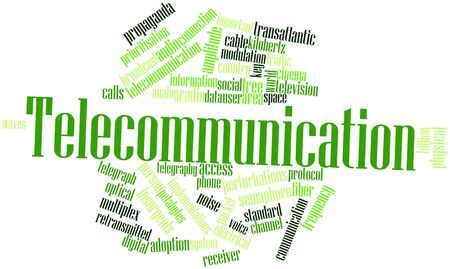 Abstract word cloud for Telecommunication with related tags and terms