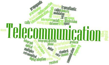 telegraphy: Word cloud astratto per telecomunicazioni con tag correlati e termini