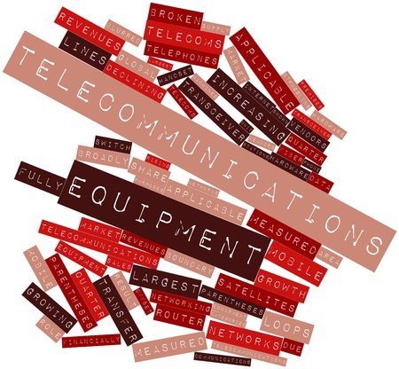 premises: Abstract word cloud for Telecommunications equipment with related tags and terms Stock Photo