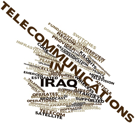 dissolved: Abstract word cloud for Telecommunications in Iraq with related tags and terms