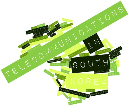 Abstract word cloud for Telecommunications in South Korea with related tags and terms Stock Photo - 16413637