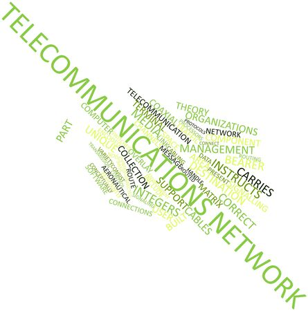 cabling: Abstract word cloud for Telecommunications network with related tags and terms