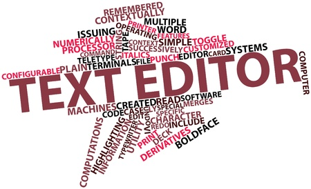 editor: Abstract word cloud for Text editor with related tags and terms Stock Photo