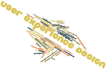 intersects: Abstract word cloud for User experience design with related tags and terms Stock Photo
