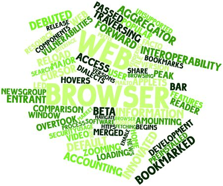 Abstract word cloud for Web browser with related tags and terms Stock Photo - 16414387