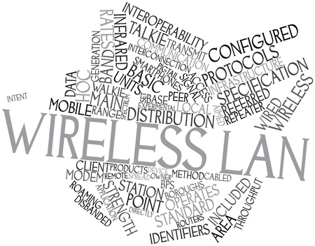 wirelessly: Abstract word cloud for Wireless LAN with related tags and terms