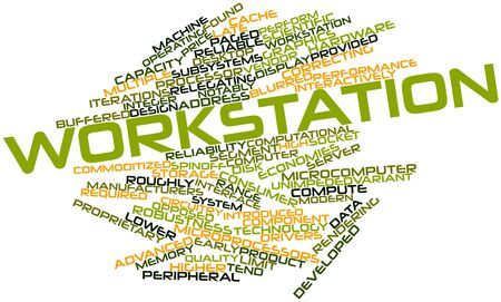 workstation: Abstract word cloud for Workstation with related tags and terms Stock Photo