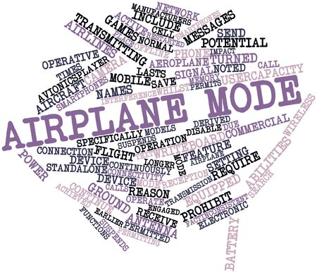 reason: Abstract word cloud for Airplane mode with related tags and terms