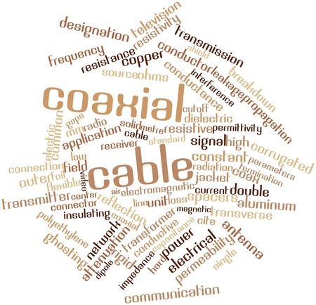 attenuation: Abstract word cloud for Coaxial cable with related tags and terms Stock Photo