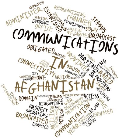 embarked: Abstract word cloud for Communications in Afghanistan with related tags and terms