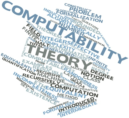 weaker: Abstract word cloud for Computability theory with related tags and terms Stock Photo
