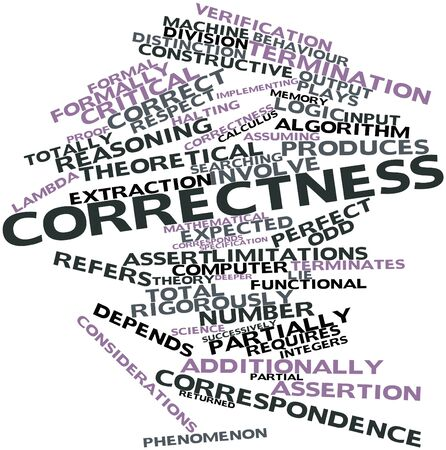Abstract word cloud for Correctness with related tags and terms Stock Photo - 16414006