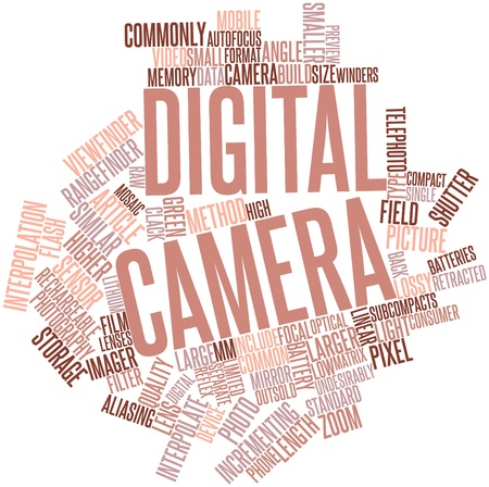 Abstract word cloud for Digital camera with related tags and terms Stock Photo - 16414230