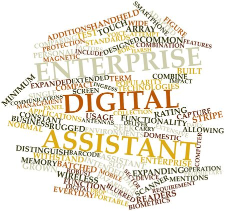 Abstract word cloud for Enterprise digital assistant with related tags and terms Stock Photo - 16414141