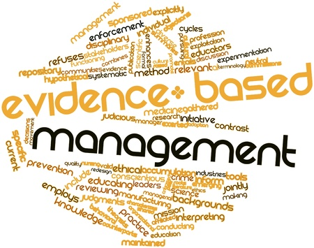 evidence based: Abstract word cloud for Evidence-based management with related tags and terms Stock Photo