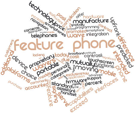 Abstract word cloud for Feature phone with related tags and terms photo