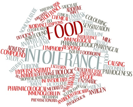 intolerancia: Nube palabra abstracta por intolerancia a los alimentos con las etiquetas y términos relacionados Foto de archivo