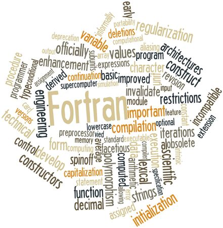 Abstract word cloud for Fortran with related tags and terms Stock Photo - 16414300