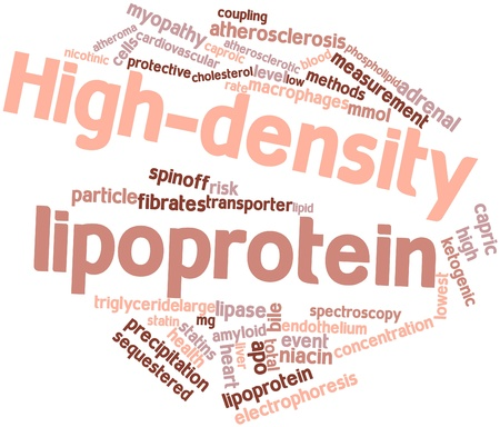 testes: Abstract word cloud for High-density lipoprotein with related tags and terms Stock Photo