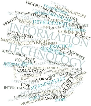 Abstract word cloud for Information technology with related tags and terms photo