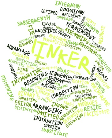 linker: Abstract word cloud for Linker with related tags and terms Stock Photo