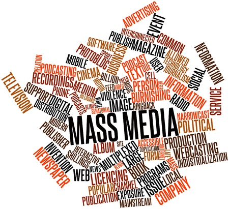 nformation: Abstract word cloud for Mass media with related tags and terms Stock Photo