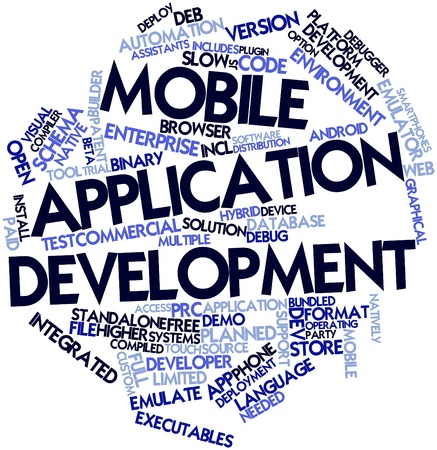 Abstract word cloud for Mobile application development with related tags and terms photo