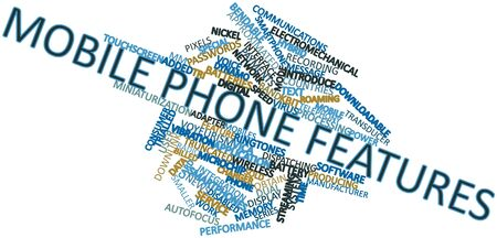 Abstract word cloud for Mobile phone features with related tags and terms