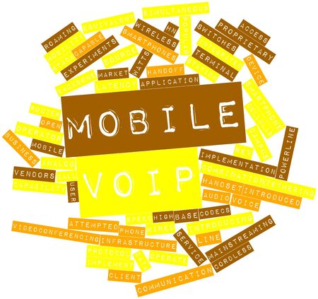 initial source: Abstract word cloud for Mobile VoIP with related tags and terms Stock Photo