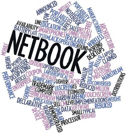 porting: Abstract word cloud for Netbook with related tags and terms