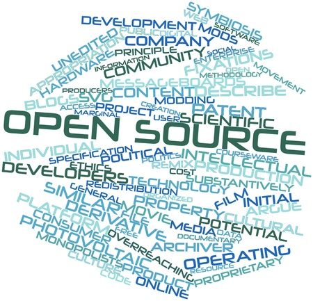 Abstract word cloud for Open source with related tags and terms Stock Photo - 16414150