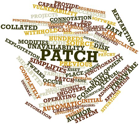 executable: Abstract word cloud for Patch with related tags and terms Stock Photo