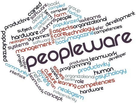 compiled: Abstract word cloud for Peopleware with related tags and terms Stock Photo